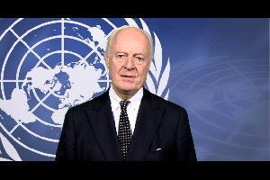 """قال المبعوث الأممي الخاص لسوريا، ستيفان دي ميستورا انه اجتمع الليلة الماضية مع وزير الخارجية الأمريكي مايكل بومبيو وناقش معه """"مناقشة معمقة"""" الوضع في س"""