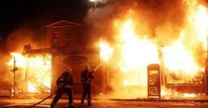 حرق محلات وحافلة داخل مجمع المحطة في عمان