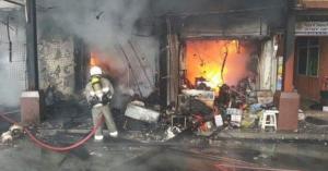 اصابات بحريق سوبر ماركت في المفرق