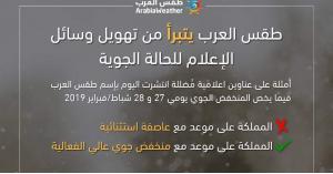طقس العرب يتبرأ من التهويل حول المنخفض الجوي المقبل (صورة)