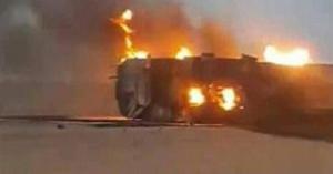 احتراق شاحنة أردنية في السعودية