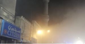 حريق في المسجد الحسيني في وسط البلد (صور)