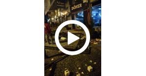 بالفيديو انفجار جرة غاز بمطعم في شارع المدينة المنورة