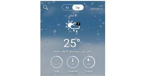 اجواء صافية ودرجة الحرارة العظمى ٢٥