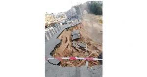 انهيار كبير في شارع رئيسي بالسلط