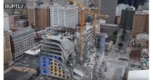 بالفيديو.. لحظة انهيار فندق في أمريكا