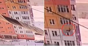 بالفيديو .. سقطت من الطابق التاسع .. وأكملت حياتها بشكل طبيعي