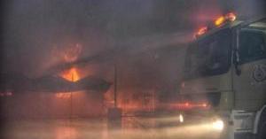 حريق بساحة قطار الحرمين بالسعودية