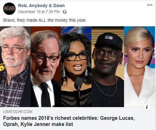 تعرف على أغنى مشاهير أمريكا لعام 2018 | سما الأردن الإخباري